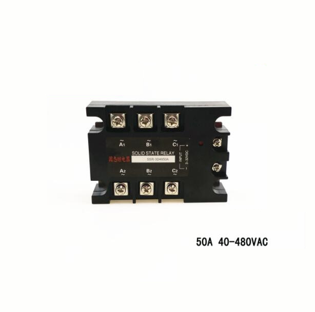 Three-phase solid state relay 40A 480VAC DC AC non-contact switch SSR-3D4840A 40a dc control ac three phase solid state relay ssr ac three