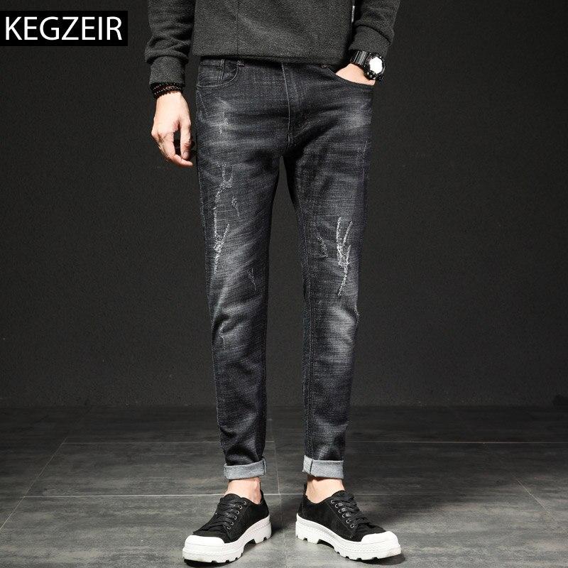c0eb64f48be KEGZEIR 2019 Новые Классические мужские Модные джинсы повседневные узкие  джинсовые брюки мужские брендовые стрейч черные джинсы