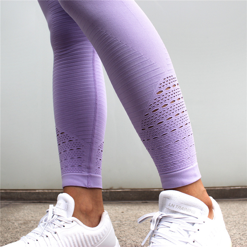 Diqian Super Stretchy Women Gym Tights Energy Seamless Tummy Control Yoga Pants High Waist Sport Leggings Purple Running Pants 5
