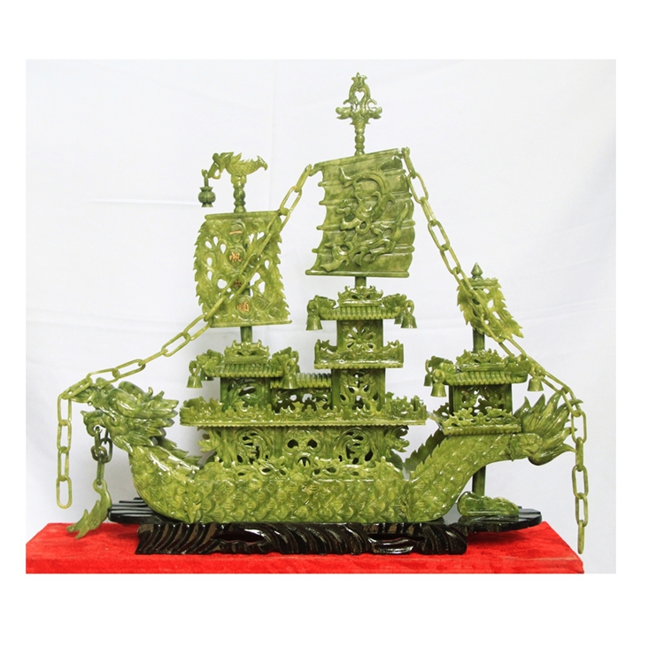 купить 60 cm double Seiko Jade Dragon Boat Decoration Crafts Ornament of modern living room Everything is going smoothly. Home Furnishi недорого