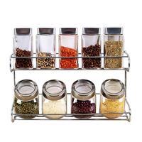 10pcs/set Glass Pepper Spice Shaker Salt Seasoning Can Kitchen Cruet Condiment Bottle Coffee Sugar Seal Container Kitchen Supply