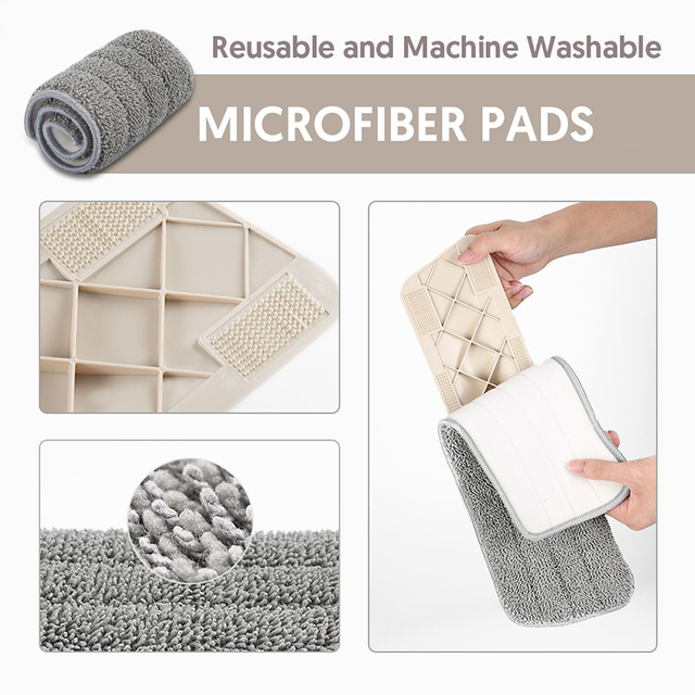 Spray Mop with Reusable Microfiber Pads 360 Degree
