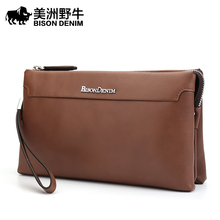 BISON DENIM Brand Handbags Men Genuine Leather Large Capacity Clutch Bag Top Cowhide Purse Brand Men's Bag Wallet Free Shipping
