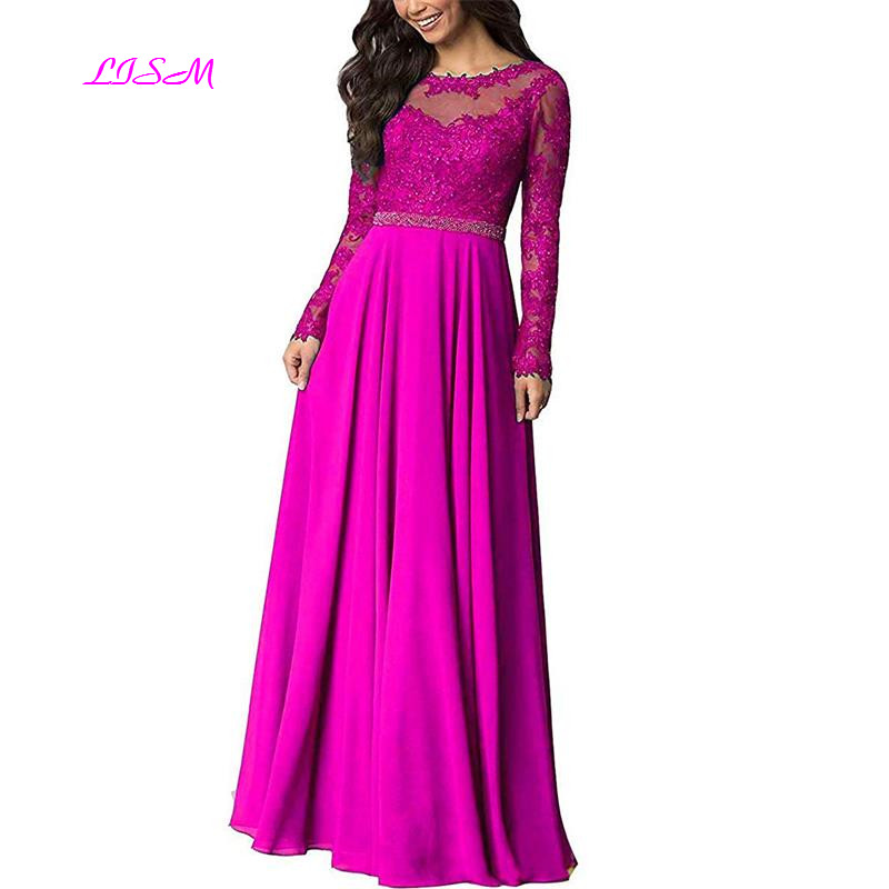 Lace Chiffon Prom Dress 2019 Sheer Scoop Long Sleeves Formal Dresses A-Line Appliques Beaded Bridesmaid Gowns vestido de gala