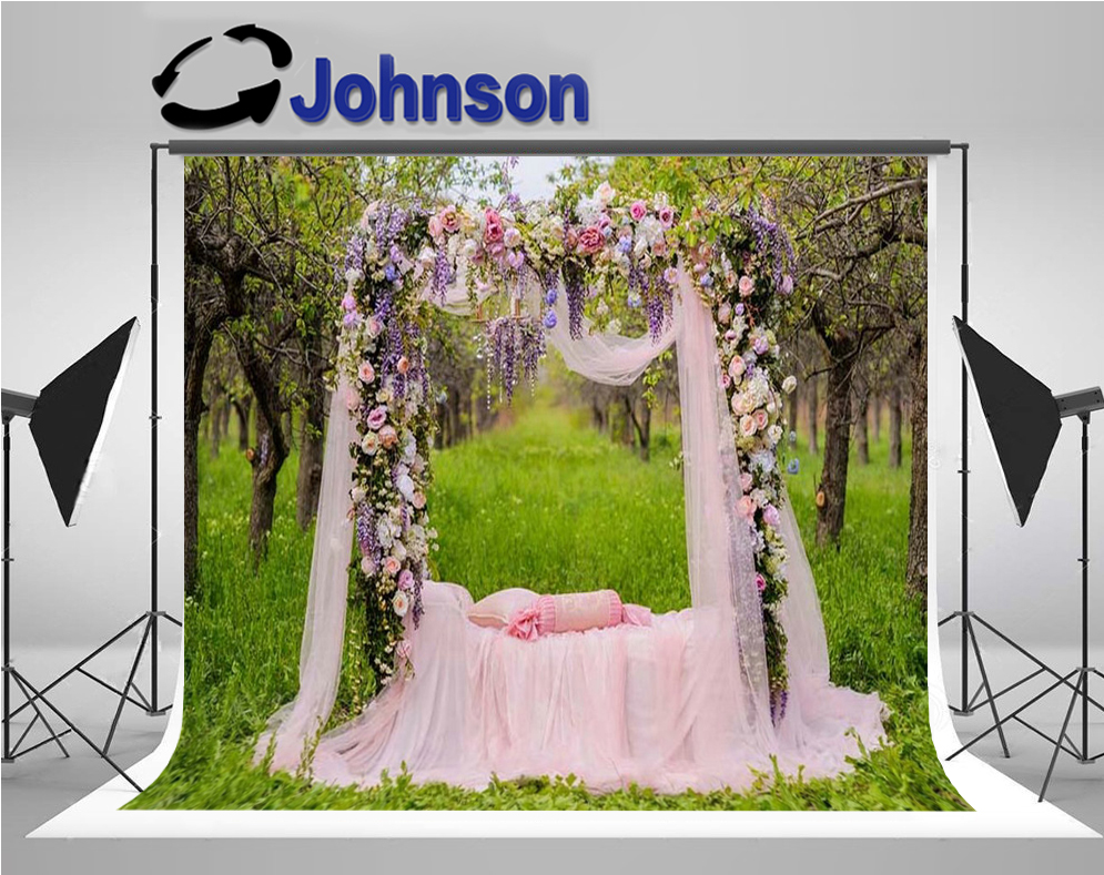 Flowers Pink Tull Gauze Bed Door Garden background Vinyl cloth High quality Computer print wedding backdrops Background     - title=