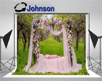 Flowers Pink Tull Gauze Bed Door Garden background Vinyl cloth High quality Computer print wedding backdrops