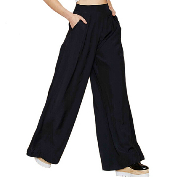 2018 New Summer Style European Brand Handsome Casual   Wide     Leg     Pants   For Women Ladies Trousers Zipper Pockets   Pants