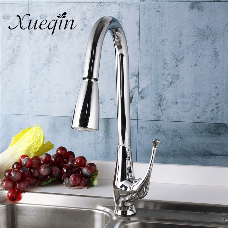 Xueqin Pull Down LED Kitchen Sink Water Mixer Tap Deck Mounted Bathroom Basin Water Faucet Mixing