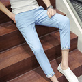New Brand 2017 Mens Casual Pants Summer Clothing Slim Fit Ankle Length Pant Men Mid Waist Pants Man Trousers