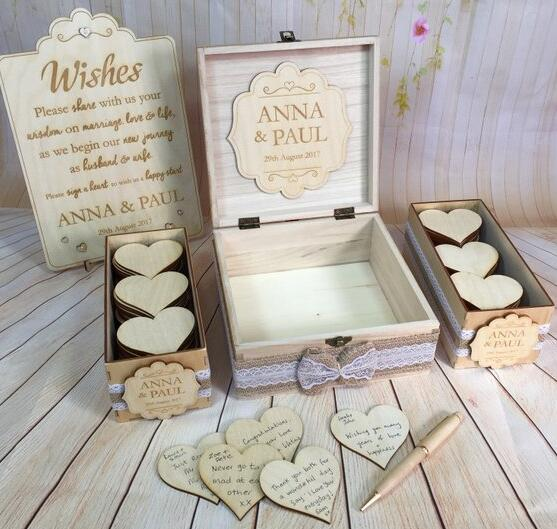 0934645834c9 customize Wood Rustic Vintage Wedding Guest Book Alternative Drop in Wish  Box Wishes birthday baby shower