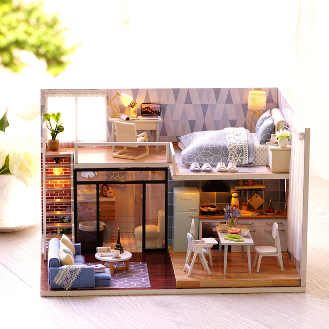 DIY Miniature Loft Dollhouse Mini 3D Wooden House Miniature Furniture  Handmade Toy Whole Home Bathroom Kitchen