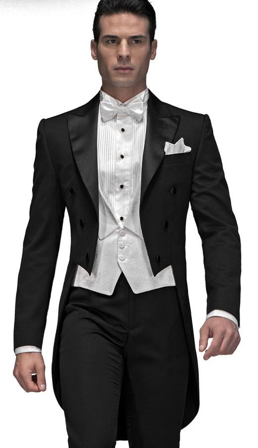 Custom Made Black Groom Tailcoat Groomsman Men s Wedding Prom Suits Jacket Pants Vest Bow Tie