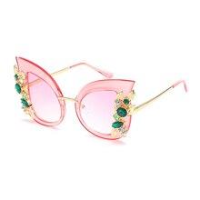 Vazrobe (68 г) Горный Хрусталь Солнцезащитные очки кошачий глаз розовый Женщины Бабочка роскошные солнцезащитные очки для женские вечерние свадебные украшения 2016