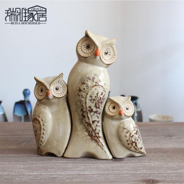 3pcs Set Owl Family Figurines Miniatures Lovely Ornament Home Decor Creative Animal Crafts Decoration