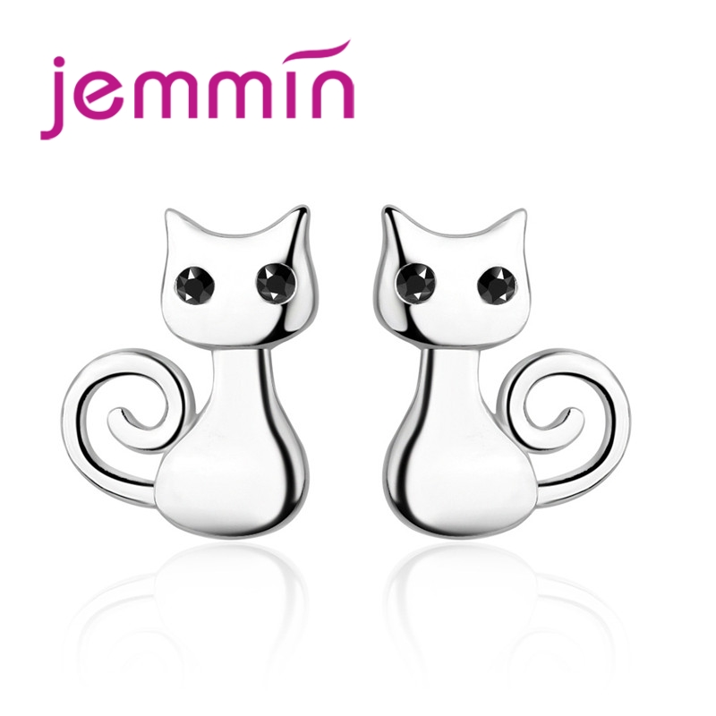 High Quality Fashion 925 Sterling Silver Cat Stud Earrings For Women Girls Lovely Cats Korean Style Jewelry Accessories