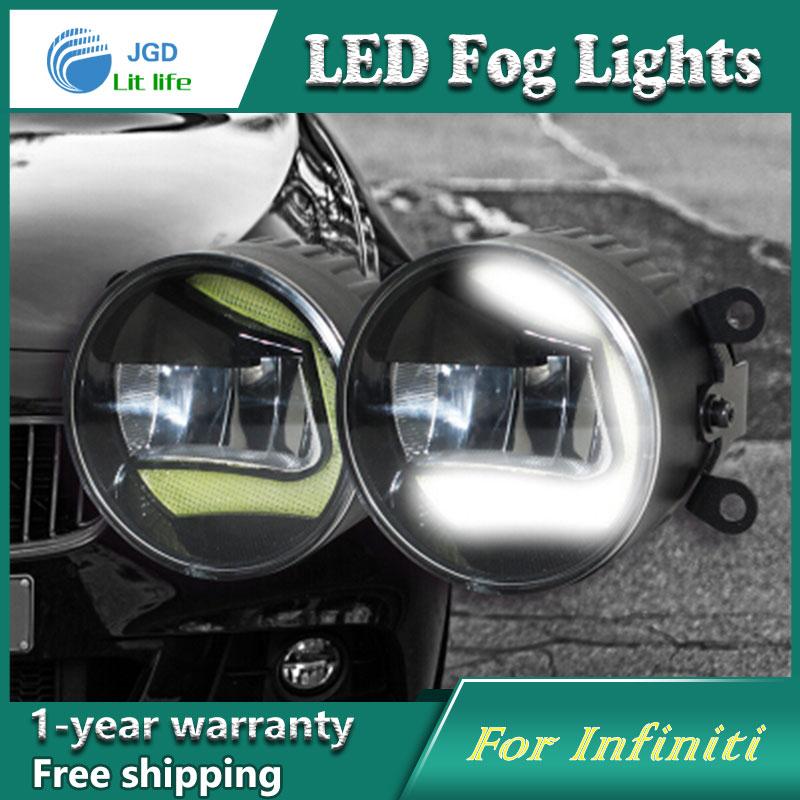 Super White LED Daytime Running Lights For Infiniti FX37 FX50 QX70d QX80 Drl Light Bar Parking Car Fog Lights 12V DC Head Lamp 6w 6700k 12000mcd 6 led white light car daytime running lamp dc 12v