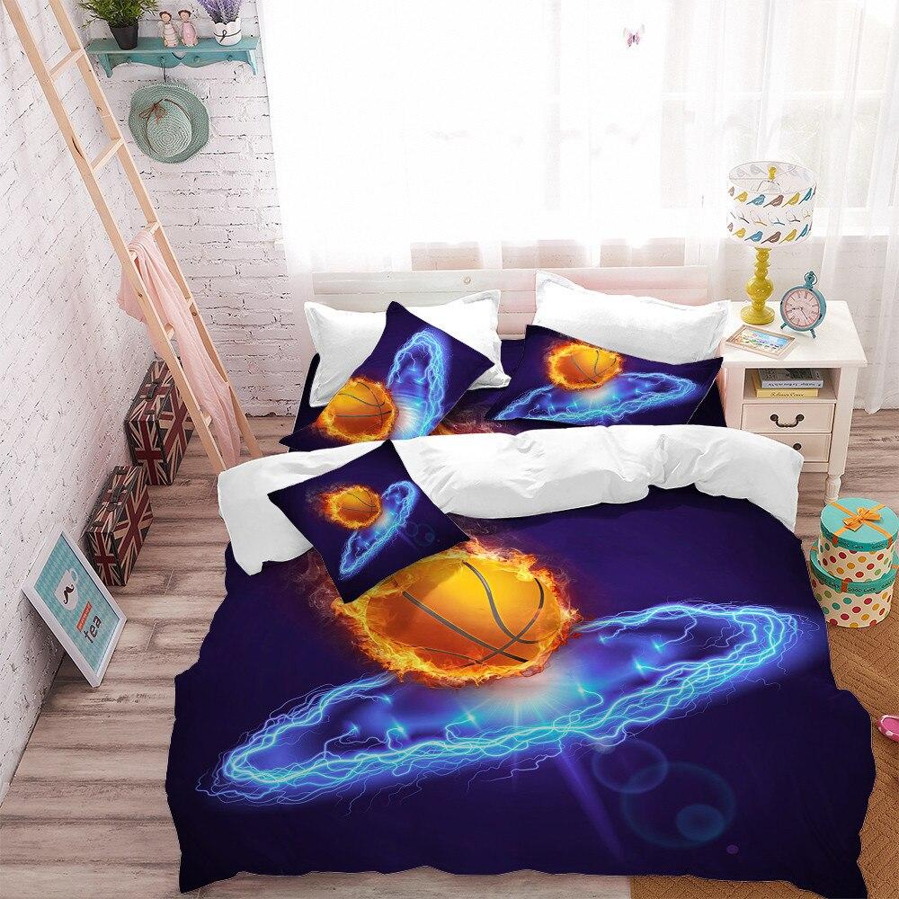 3D Basketball Bedding Set Blue Lightning Print Duvet Cover Set Boys Basketball Bedding Soft Bedclothes Pillowcase D30 in Bedding Sets from Home Garden