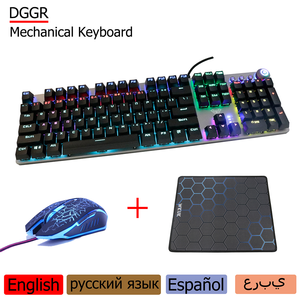 DGGR 107 Keys Gaming Mechanical Keyboard Wrist Support And Mouse USB Wired Lights LED Backlit Ccomputer