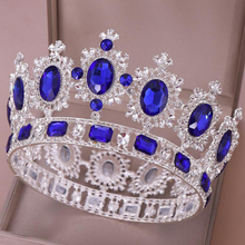 Vintage Blue Crystal Crown For Princess Bride Tiaras and Wedding Hair Accessories Birthday Dinner Prom Diadem Jewelry Gift