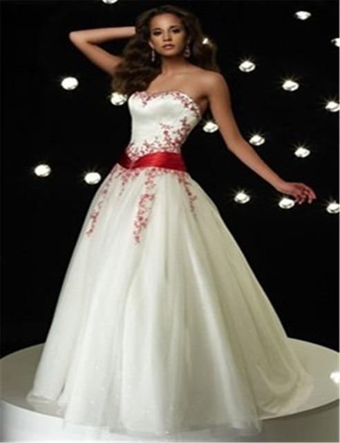 color del bordado vestidos novia rojo y blanco satén del hombro de