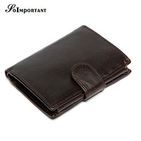 Cowhide Retro Luxury Genuine Leather Men Wallets High Quality Brand Design Zipper Wallet Man Purses For