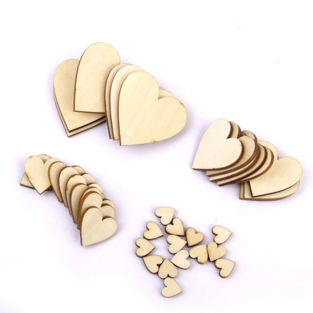 ANGRLY 100pcs Plain Wood Simple DIY Wooden Hearts Embellishment Kid Art Decor Craft Card Painted Varnished Wedding Decoration