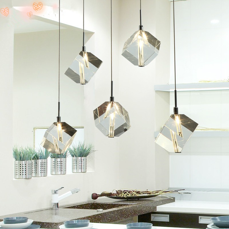 Transparent Crystal LED Dining Room Bar Pendant Light Modern Fashion Lamps For Home Living Room Simple Creative