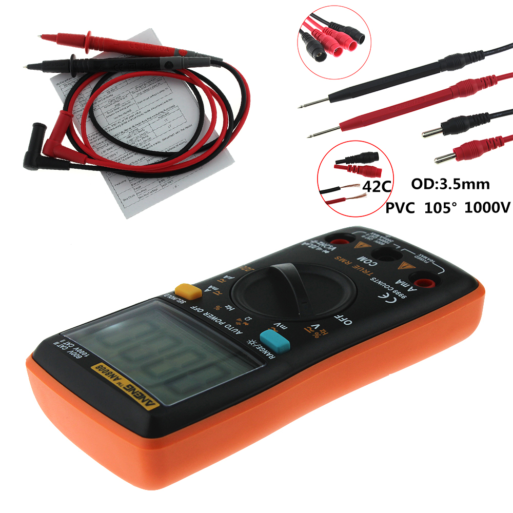 Image 5 - AN8008 Orange True RMS Digital Multimeter 9999 counts transistor tester capacitor tester automotive electrical rm409b clip test-in Multimeters from Tools