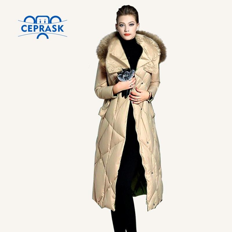 CEPRASK 2017 New Winter Jacket Women Plus Size Long Fashionable Women s Winter Coat Hooded Raccoon