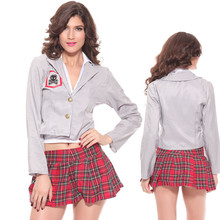 grey coat school Naughty student uniform costume sexy girl fantasia quente  erotic 2bed16b8a