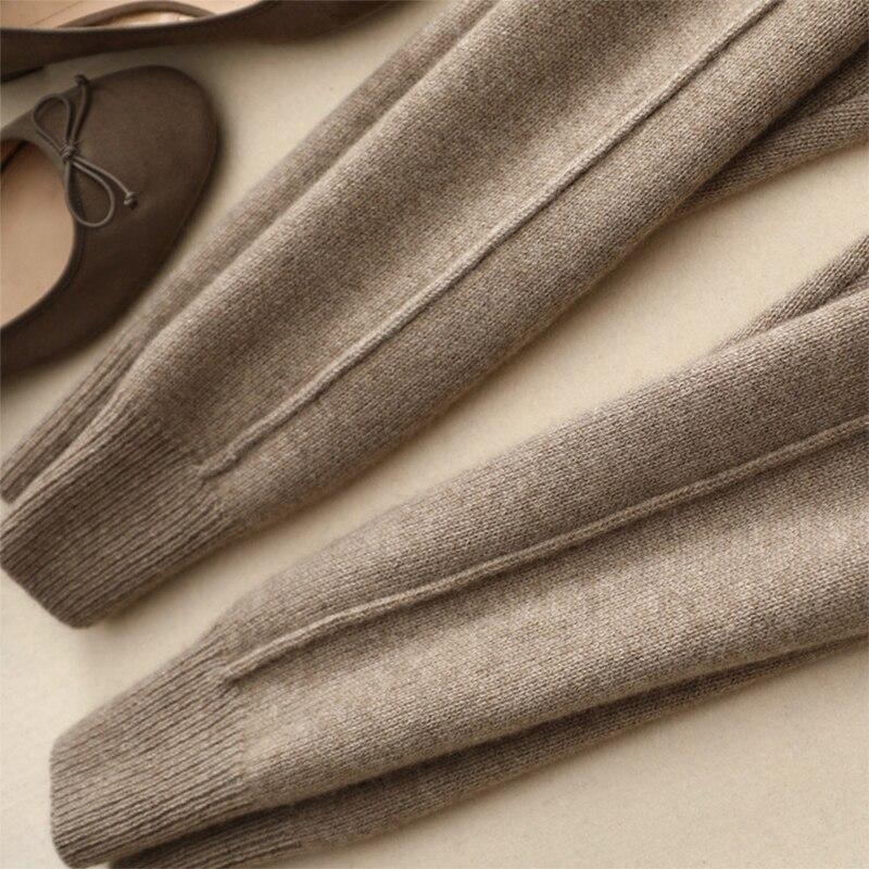 Tricoté Femmes Cachemire Pantalon Crayon Automne 100 Haute Confortable De 2018 Droite Camel Taille Ligne Jogger beige Longue gray Hiver xRrxO