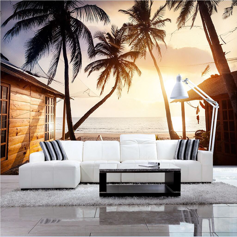 Custom Modern minimalist 3D Wallpaper Wall Mural Non-woven Coconut tree Wall Paper Hallway Living Room TV Wall Home Decoration beibehang embossed non woven stereoscopic mosaic wallpaper rolls modern woven 3d flocking wall paper living room home decoration