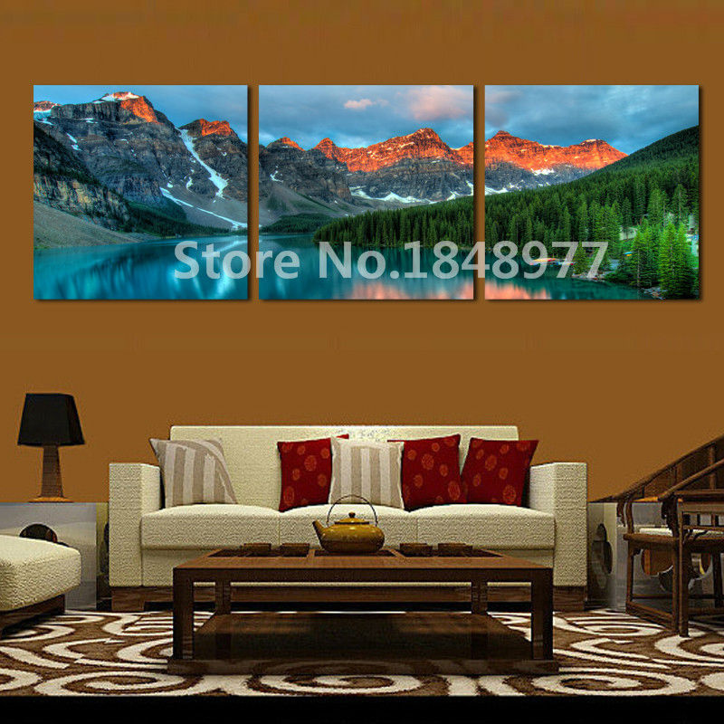 3 Pieces Canvas Wall Art Landscape Picture Mountain Lake Canvas Pictures For Wall Living Room Modern Home Decor Printed
