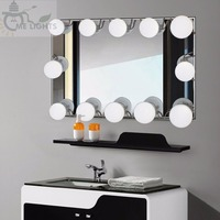 10 Bulbs Hot LED Lighted Makeup Mirror bulbs String Stepless Dimmable Touch Control Hollywood DIY Lamp Warm White Waterproof