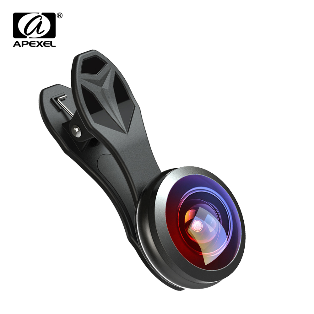 Apexel Optic Pro lens, 8mm 238 degree super fisheye 0.5X full frame  Wide angle lens for iPhone smartphone No dark circle