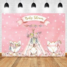 Neoback Pink Baby Shower Background Shiny Little Star Bohemia Feather Arrow Tent Cute Fox Photography Backdrops Studio Shoots