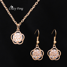 Elegant Luxury Gold Color Crystal Flower Necklace Earrings Jewelry Sets For Women Wedding Anniversary Gifts Accessories Sets