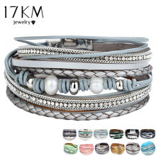 26 Design Vintage Multiple Layer Leather Bracelet For Women Men New Bead Pearl Charms Wrap Bracelets 2019 Femme Fashion Jewelry(China)