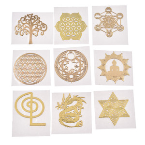 5pcs Geometry Pattern Stickers DIY Round Shape Metal Copper Scrap Stickers For Window Wall Modern Home Tile Temple Decoration(China)