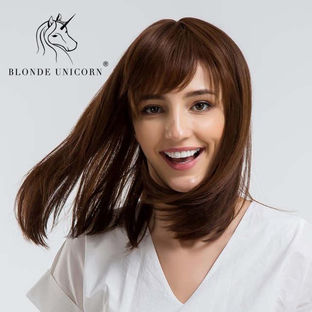 Blonde Unicorn 14 Inch Straight Bob Hair Wig With Bangs Shoulder Length Light Brown 30 Human Hair Capless Full Women Wig