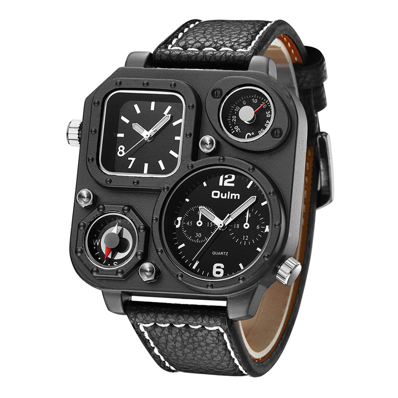 Oulm New Arrive Unique Male Watch Luxury Big Size Square Dial Compass Decoration Quartz Clock Antique Men's Military Watches men quartz watches new fashion sport oulm japan double movement square dial compass function military cool stylish watch relojio