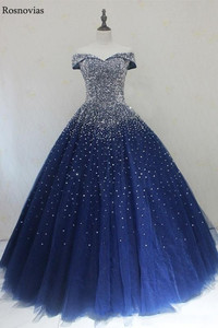 Image 2 - Navy Blue Ball Gown Quinceanera Dresses 2020 Off Shoulder Lace up Back Major Beading Princess Puffy Prom Party Dresses
