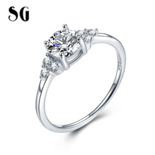 SG Real 100% 925 Sterling Silver Square CZ luxury Princess Finger Rings for Women Wedding 2019 party Jewelry free shipping