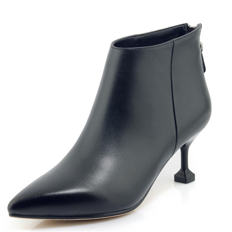 LOVEXSS Woman Autumn Winter Zipper Ankle Boots Fashion Sexy Plus Size 33 40 Martin Boots Black Rice White High Heeled Shoes 12v 65w high pressure marine deck car washer wash water pump cleaner sprayer kit