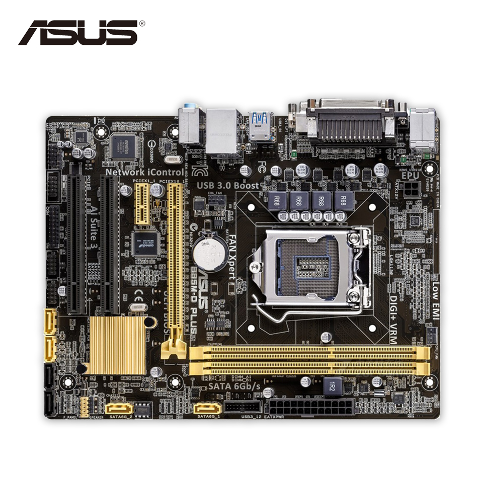 Original Used Asus B85M-D PLUS Desktop Motherboard B85 Socket LGA 1150 i7 i5 i3 DDR3 16G SATA3 Micro-ATX 100% Fully Test asus h87 plus deluxe board 1150 b85 motherboard