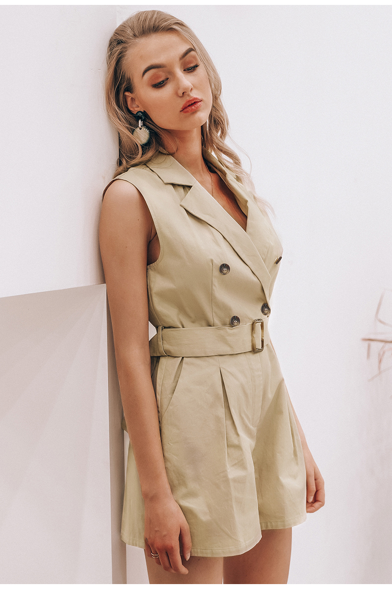 HTB1xcImUBLoK1RjSZFuq6xn0XXao - Simplee Elegant sashes khaki cotton women playsuit Summer pockets button zipper rompers short jumpsuit Office ladies overalls