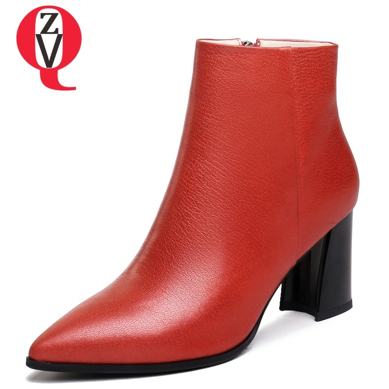 ZVQ shoes women newest zipper high hoof heels genuine leather pointed toe black and red winter warm big size sexy ladies booties