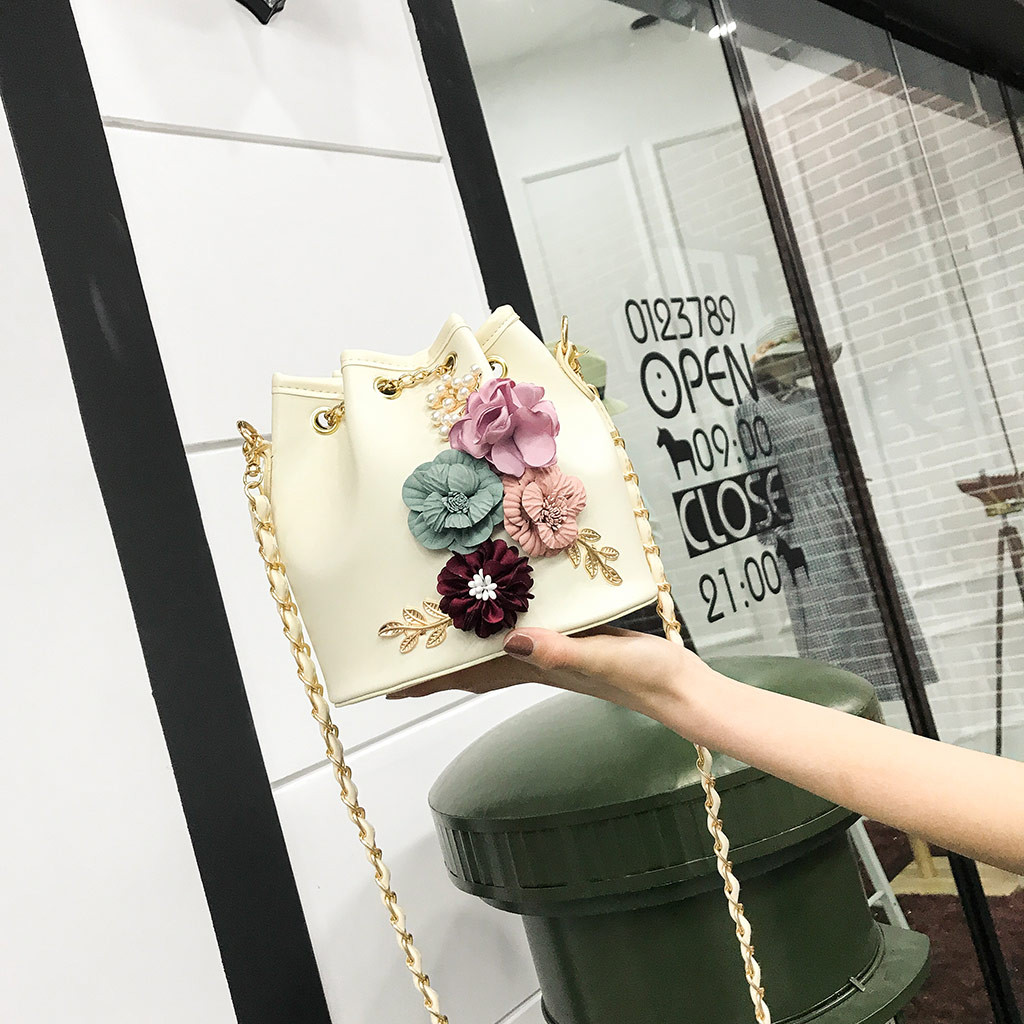 Women Candy Color One Shoulder Small Flower Bucket Bag Fashion Dropshipping Borsa a tracolla da donna(China)