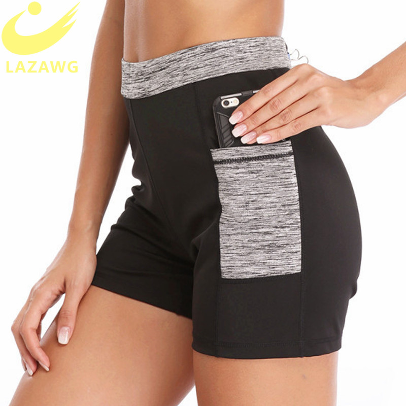 LAZAWG Women Sport Shorts Phone Pocket Gym Pants Sweat Neoprene Sauna Shorts Hot Workout Pant Slimming Legging Capris Shorts