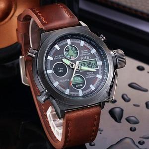 Image 1 - שעון גברים אופנה מקרית יוקרה מותג AMST Diver LED זכר ספורט צבאי רצועת עור עמיד למים שעון יד Relogio Masculino